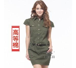 連身裙 連衣裙 純棉 軍綠