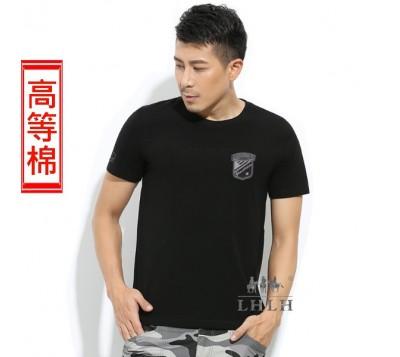 男修身純棉短袖黑色素T