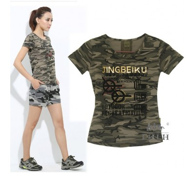 女迷彩圖騰純棉修身短袖T恤