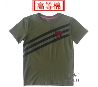 男條紋軍綠純棉短袖T恤