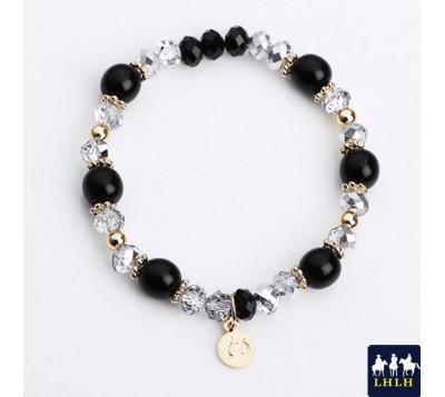 黑珍珠灰水晶串珠手鍊 正韓