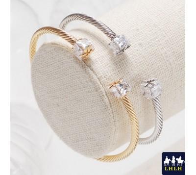 雙正方鋯石纏繞狀手環 正韓