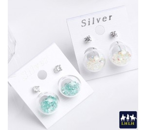 純銀耳環 透明球流鑽 正韓 單鑽前後玻璃