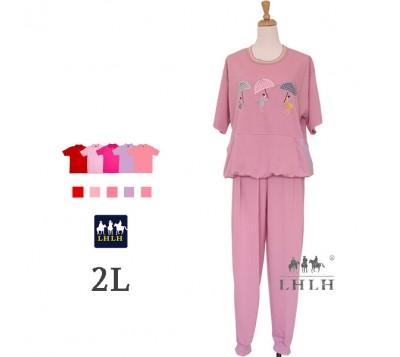 女睡衣套裝 短袖長褲 2L