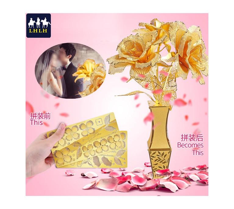 金玫瑰 3D金属模型