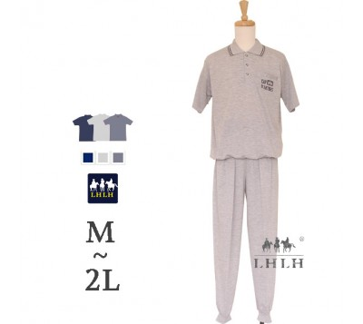 男居家服 POLO衫 短袖长裤 M~2L