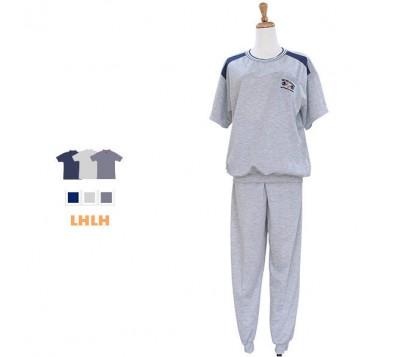 男運動服 休閒居家服 短袖長褲 L~XL