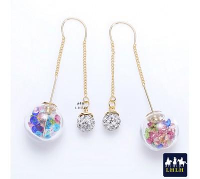 Crystal Glass Ball Bubble Earrings Korea