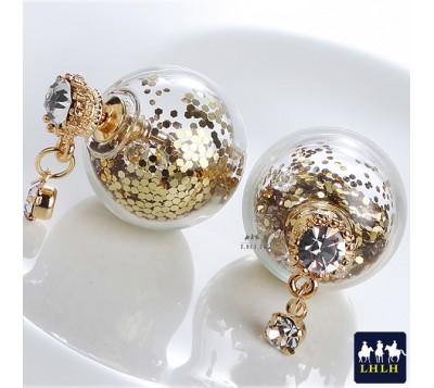 Shiny Glittering Glass Ball Earrings Korea