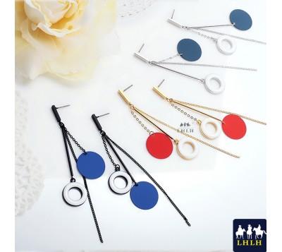 Hammer Chain Donut Steel Needle Earrings Korea Nuance