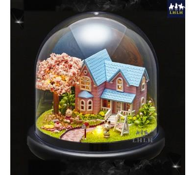 DIY小屋 透明罩音乐盒 袖珍娃娃屋 樱花约定