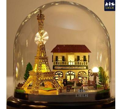 DIY Transparent Cover Music Box Gift Romantic Paris