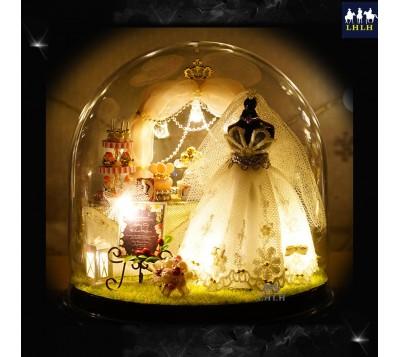 婚礼小物 DIY透明罩音乐盒 爱是永恒