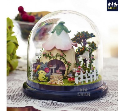 DIY Transparent Cover Music Box Gift Garden Glass House