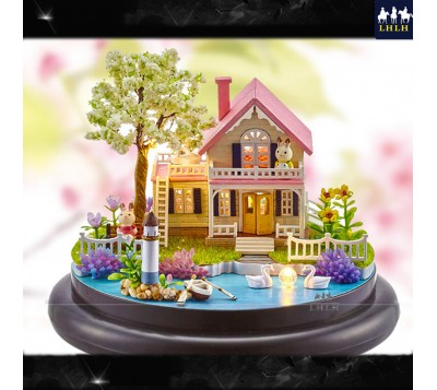 DIY Transparent Cover Music Box Gift Spring Of Flowers
