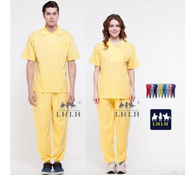Yellow Plain Sportswears Overalls Polo shirts short-sleeved (Men/Women)