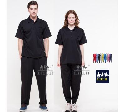 Black Plain Sportswears Overalls Polo shirts short-sleeved (Men/Women)
