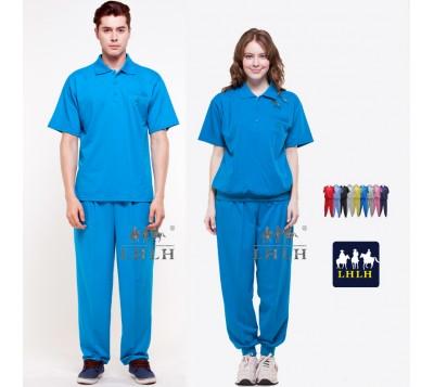 翠藍色 套裝 母娘色 慈惠堂 進香服 廟會服 短袖 男女 Polo衫