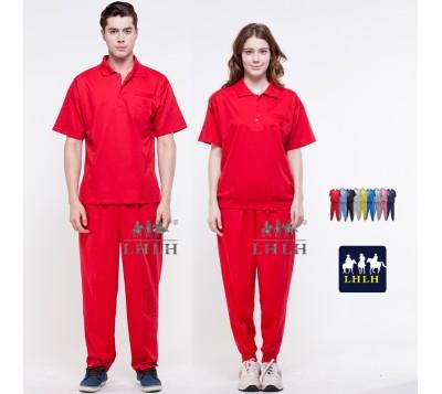 紅色 休閒服套裝 工作服 短袖 男生 女生 Polo衫
