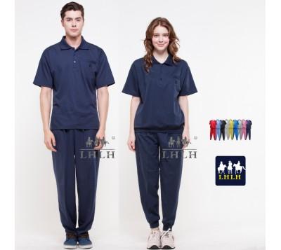 Dark Blue Plain Sportswears Overalls Polo shirts short-sleeved (Men/Women)