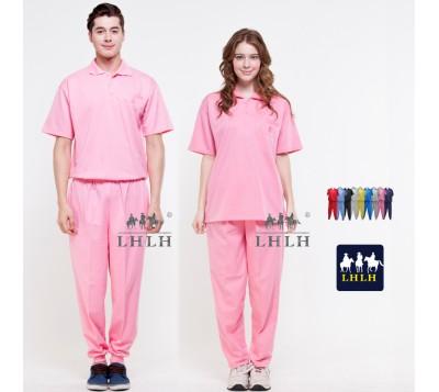 粉色 粉紅色 看護服 健檢服裝 運動套裝 短袖 女生 男生 Polo衫