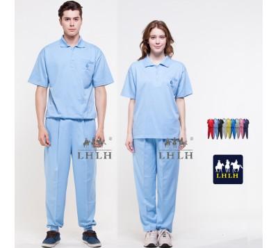 水藍色 健檢服裝 休閒服套裝 看護服 工作服 短袖 女生 男生 Polo衫