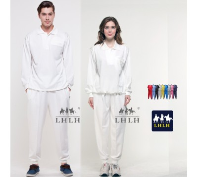 White Sportswears Overalls Polo Shirts Long-Sleeved (Men/Women)