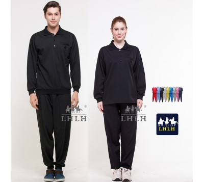 Black Sportswears Overalls Polo Shirts Long-Sleeved (Men/Women)