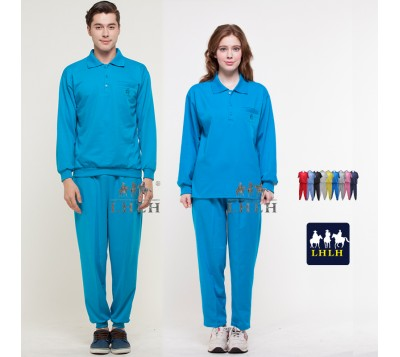Turquoise Blue Sportswears Overalls Polo Shirts Long-Sleeved (Men/Women)