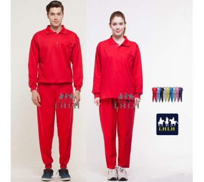 Red Sportswears Overalls Polo Shirts Long-Sleeved (Men/Women)