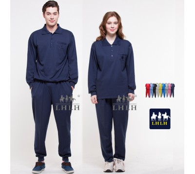 Dark Blue Sportswears Overalls Polo Shirts Long-Sleeved (Men/Women)