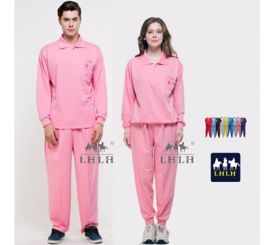 Pink Sportswears Overalls Polo Shirts Long-Sleeved (Men/Women)