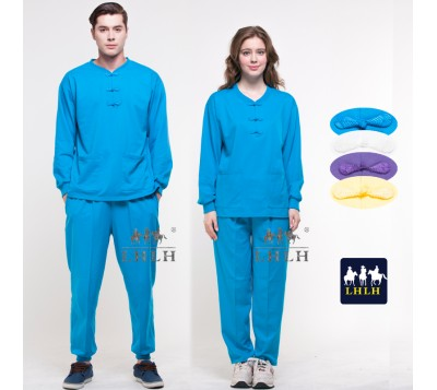 Turquoise Blue Chinese Costume Overalls Long-Sleeve (Men/Women)