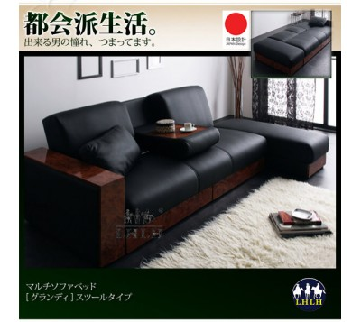 L Shaped Sofa Bed & Leather Sofas 3 & 2 with Chair Stool