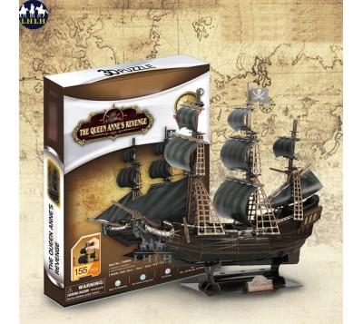 3D Puzzle DIY Queen Anne's Revenge Cardboard Paper Ship Model