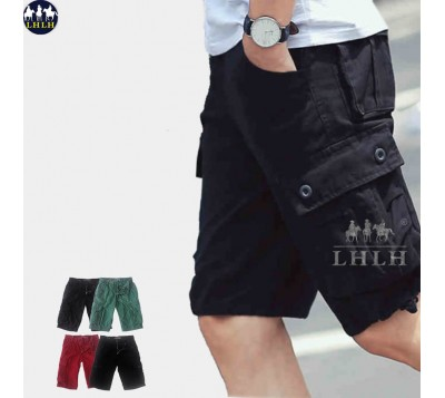 Mens Summer Casual Cargo Pants Shorts Trousers Cotton