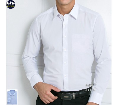 Long-sleeved Plain Anti-wrinkle Office Shirts