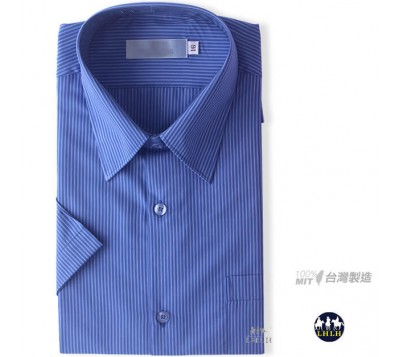 Blue Short Non-Iron Shirts in Regular Fit with Fine Stripe