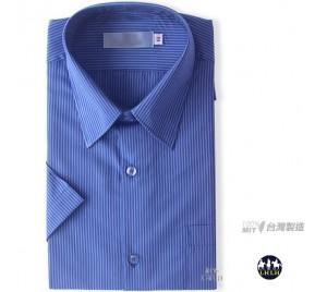 短袖直条纹衬衫 免烫衬衫 商务衬衫 宝蓝色