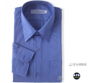 Blue Long Non-Iron Shirts in Regular Fit with Fine Stripe