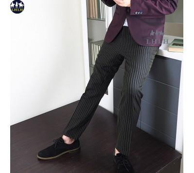 男西裝褲 直條紋褲子 韓國