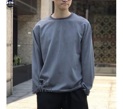 直條紋t恤長袖 寬鬆長版上衣 男裝韓國
