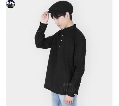 男亨利領長袖襯衫 正韓國製