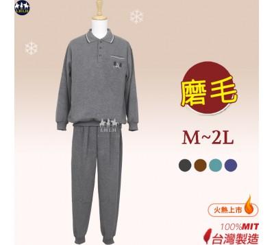男居家服套装 休闲服 Polo领 磨毛 M~2L